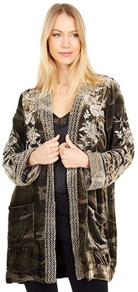 Johnny Was Millie Velvet Smoking Jacket (Sequoia Camo) Women's Clothing