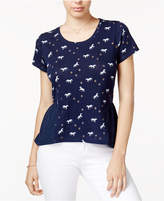 Maison Jules Printed Peplum T-Shirt, Created for Macy's