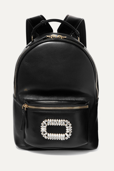 Roger Vivier Sexy Choc Crystal-embellished Glossed-leather Backpack - Black