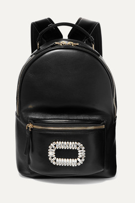 Roger Vivier Sexy Choc Crystal-embellished Glossed-leather Backpack - Black