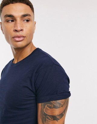Topman t-shirt with rolled sleeves in navy