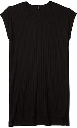 Eileen Fisher Plus Size V-Neck High-Low Dress (Black) Women's Clothing