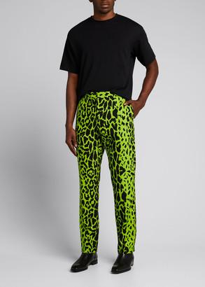 Versace Men's Animal-Print Neon Pants