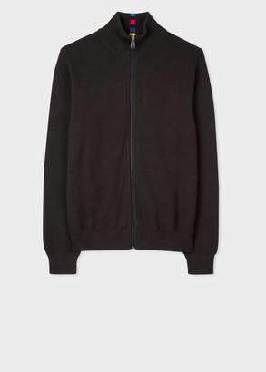 Men's Black Cotton-Blend Zip Cardigan