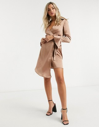 Outrageous Fortune tie detail blazer dress with fluted sleeve detail in taupe