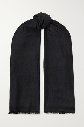 Saint Laurent Fringed Silk And Wool-blend Jacquard Scarf - Black