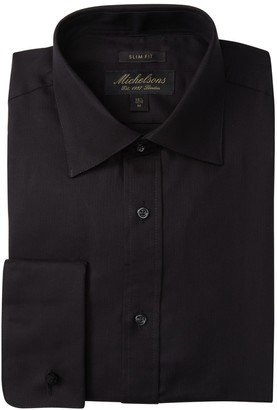 Michelsons Solid Textured Slim Fit Tuxedo Dress Shirt