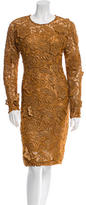 Prada Embroidered Floral Patterned Long Sleeve Dress w/ Tags