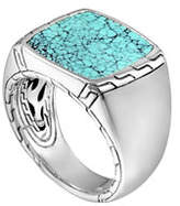 John Hardy Silver & Turquoise Signet Ring