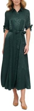 Calvin Klein Zebra-Jacquard Belted Shirtdress