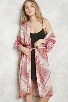 Forever 21 FOREVER 21+ Belted Longline Floral Kimono