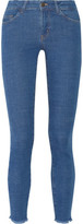 MiH Jeans Bodycon Mid-Rise Frayed Skinny Jeans