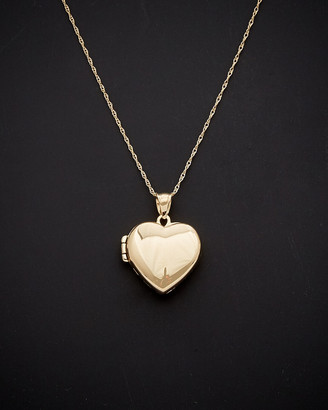 Italian Gold 14K Polished Heart Locket Pendant Necklace