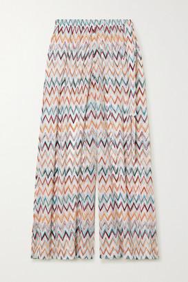 Missoni Cropped Crochet-knit Wide-leg Pants - White