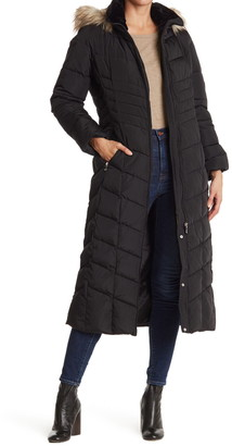 Calvin Klein Faux Fur Trimmed Quilted Maxi Puffer Jacket