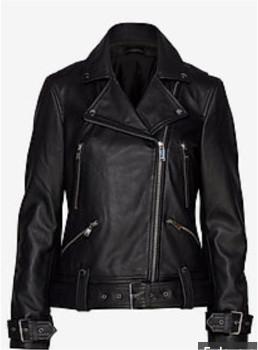 2nd Day Black Leather Jackie Jacket - size 36 | 100% lamb skin | black - Black/Black
