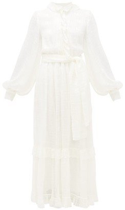 Etro Pamela Balloon-sleeve Silk-chiffon Gown - Womens - White