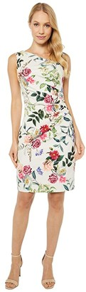 Adrianna Papell Parisian Garden Draped Sheath Dress (Ivory Multi) Women's Dress