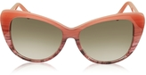 Balenciaga BA0016 44F Coral Striped Burgundy Cat Eye Women's Sunglasses
