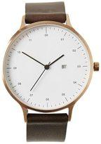 Frank + Oak INSTRMNT Brown & Rose Gold Leather Strap Watch