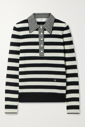 Victoria Beckham Striped Wool And Cashmere-blend Sweater - Black