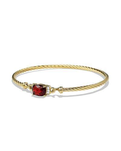 David Yurman Petite Wheaton Bracelet with Garnet and Diamonds in Gold