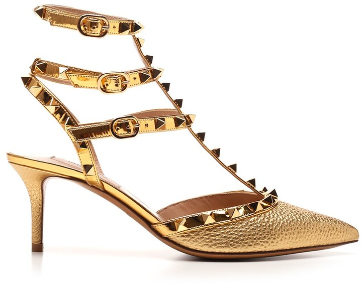Valentino Gold Pumps with Cash Back
