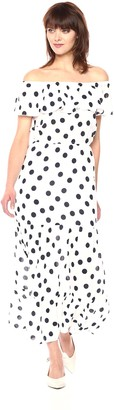 Three Dots Women's Dot Voile Maxi Long Loose Dress