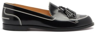 Christian Louboutin Trompinetta Embossed Leather Loafers - Black White