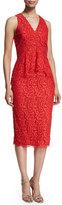Shoshanna Sleeveless Lace Peplum Cocktail Dress