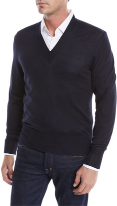 Tom Ford Men's Solid Cashmere V-Neck Sweater