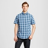 Merona Men's Short Sleeve Button Down Shirt Blue Check