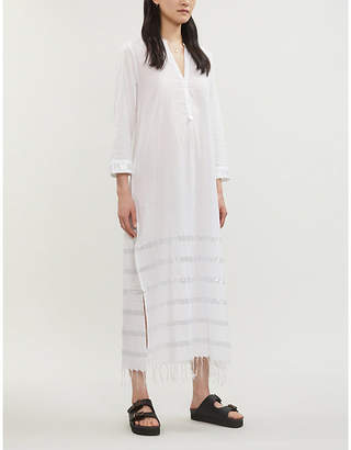 The White Company Lurex-Striped Fringed Voile Dress