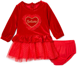 Baby Starters Girls' Casual Dresses Red - Red Heart 'Believe' Ruffle-Trim A-Line Dress & Diaper Cover - Infant