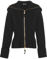 Alexander McQueen Ribbed-knit Wool Peplum Cardigan - Black