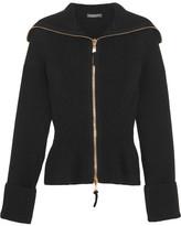 Alexander McQueen Ribbed-knit Wool Peplum Cardigan - Black
