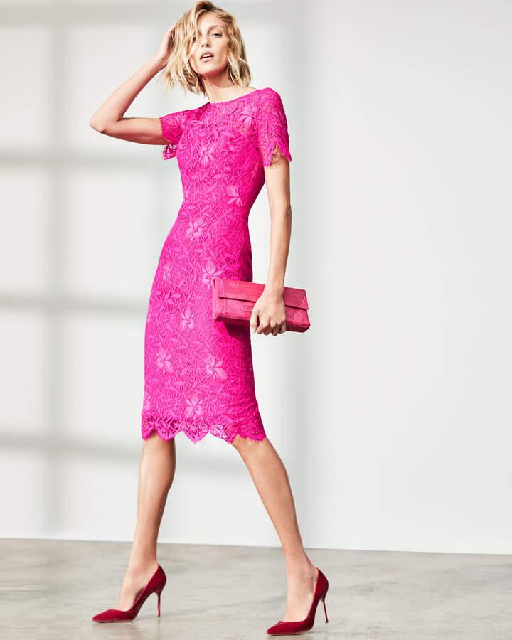 Lela Rose Floral Lace Short-Sleeve Sheath Dress, Fuchsia