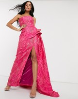 Bariano bandeau prom dress with thigh split in pink jacquard print