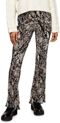 Topshop Snake-Print Plisse Flare Trousers