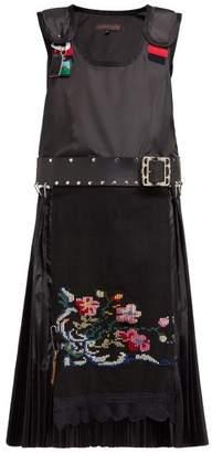 Chopova Lowena - Guard Pinafore Cross-stitch Pleated Midi Dress - Womens - Black Multi