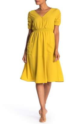 GOOD LUCK GEM Smocked Waist Midi Dress
