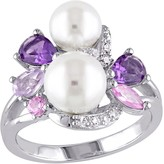 Sterling Multi-Gemstone & Cultured Pearl Cluster Ring