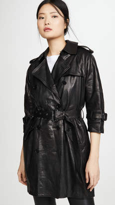 R 13 Leather 3/4 Sleeve Trench