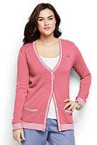 Classic Women's Plus Size Cotton Tipped Cardigan Sweater-Ivory/Black Stripe