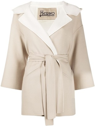Herno belted hooded wrap coat
