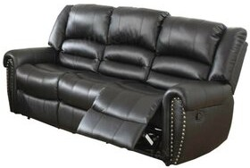 """Thumbnail for your product : Alcott Hill Ladner 86"""" Faux Leather Rolled Arm Reclining Sofa"""