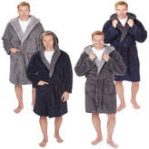 Mens Pierre Roche Hooded Robe Dressing Gown Contrast Collar Medium To 5XL