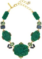 Oscar de la Renta Carved Resin and Crystal Necklace