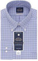 Eagle Men's Non Iron Stretch Collar Regular Fit Plaid Buttondown Collar Dress Shirt