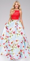 Jovani Floral Print Two Piece Halter Prom Dress